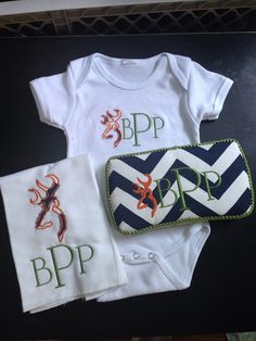 3 piece set browning & chevron monogrammed by PenelopeJaneCouture