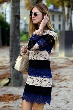 Chiara Ferragni mini dress, streetstyle, gorgeous lace with stripes & sleeves, what a look!