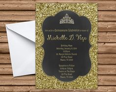 Gold Glitter Bling Sweet 16 Invitation 4x6 or 5x7 Flat Card These can also be used for Sweet 15 and Quinceanera Printed 4-Color Process on One side Printed on 100lb gloss cover stock Bright White Envelopes Are Included