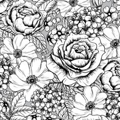 A page of gorgeous flowers from the gorgeous Vintage Patterns Creative Colouring Book for Grown-ups