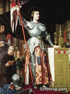 St. Joan of Arc came before the Crown Prince of France after receiving visions from God telling her to fight to take France back from the English. The uncrowned King Charles VII sent her to the siege at Orléans. Gained recognition after she was able to lift the siege in only 9 days. Despite being wounded, she lead the country to victory repeatedly. Tried for heresy in a false court and burnt at the stake. Her trial was declared invalid by the Pope & she was canonized as a saint many years later.