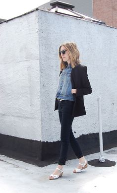 DIY Denim Vest worn with Helmut Lang Blazer, H striped tank, BDG Black Jeans, Vintage Sandals and Vintage Sunglasses | DeSmitten