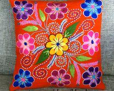 Funda de almohada de Boho mano textil peruana bordada flores 16 x 16 ovejas y alpaca de lana hecho a mano mandarina naranja