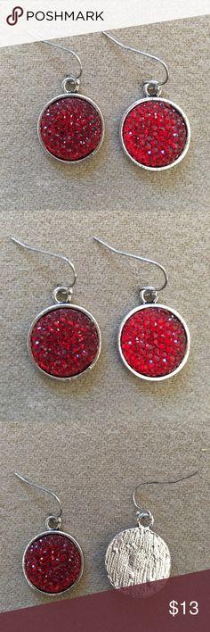 Holiday Season Pierced Earrings red & silver tone Holiday Season Pierced Earrings red & silver tone. Never worn. Seasons Jewelry Earrings