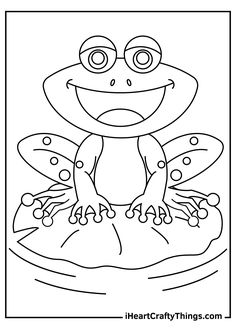 Frog Coloring Pages, Coloring Pages For Kids, Frog Crafts, Kinds Of Shapes, Animal Drawings, Worksheets, Creatures, Animals, Kids Playing