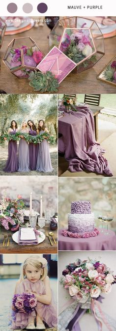 Mauve and purple wedding color ideas / http://www.deerpearlflowers.com/mauve-wedding-color-combos/ #purplewedding #mauvewedding #weddingcolors