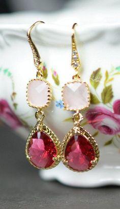 Crystal Earrings, Pink Earrings