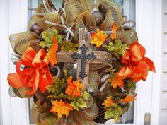 Fall thanksgiving Deco Mesh Wreath on Etsy, $95.00