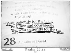 """""""Wait patiently for the Lord. Be brave and courageous. Yes, wait patiently for the Lord."""" Psalm 27:14  #bible"""