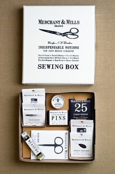 Notions Box Set from Merchant & Mills: The Notions Box Set includes nine of Merchant & Mills most useful notions all in one prettily embossed box. For beginners to set off on the right foot or for old pros to set off on a new foot! This remarkable set includes a set of 25 Finest Needles, a pair of Wide Bow Scissors, a Needle Threader, Dressmaking Pins, Tailor's Beeswax, Tailor's Chalk, Tailor's Thimble, a Seam Ripper and a Tape Measure.