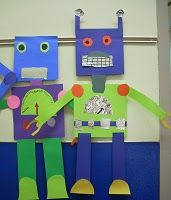 Construction paper robots! Great for teaching geometric shapes