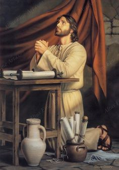 """'Hallowed Be Thy Name' by Simon Dewey …The painter """"wanted to present Christ, before his ministry began, preparing himself through study and prayer. Pictures Of Jesus Christ, Images Of Christ, Religious Pictures, Bible Pictures, Religious Art, Sunday Pictures, Lds Art, Bible Art, Simon Dewey"""