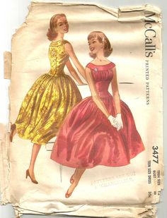 Shirred Shelf Bust Vintage 50s Dress Pattern Full by weezieduzzit, $60.00