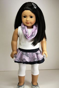 American Girl Doll Clothes-Skirt, Top, Infinity Scarf and Leggings by sewurbandesigns