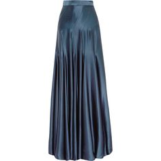 Michael Lo Sordo Colette silk-satin maxi skirt (€915) ❤ liked on Polyvore featuring skirts, navy, navy blue maxi skirt, navy blue long skirt, long navy skirt, floor length skirts and long blue skirt