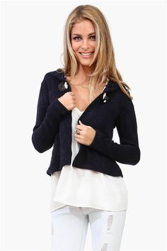Toggle Cardigan in Navy @Pascale De Groof