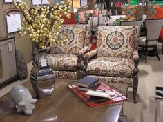 CR Laine's Bradstreet Chairs in fabric: Owsler Spice via our retail partner J. Mackie & Associates