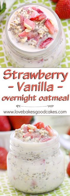 """""""Fuel up"""" like Team USA with this Strawberry Vanilla Overnight Oatmeal recipe. It's a great way to start your day with a delicious and healthy breakfast! AD"""