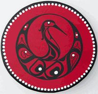 """""""Blue Heron Button Robe"""" Traditional deer hide and cedar frame drum designed and painted by Oding Lonining, a Tlingit Artist."""