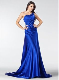 Special Occasion Dresses - $144.99 - A-Line/Princess One-Shoulder Court Train Tulle Charmeuse Evening Dress With Ruffle Lace Beading  http://www.dressfirst.com/A-Line-Princess-One-Shoulder-Court-Train-Tulle-Charmeuse-Evening-Dress-With-Ruffle-Lace-Beading-017005207-g5207