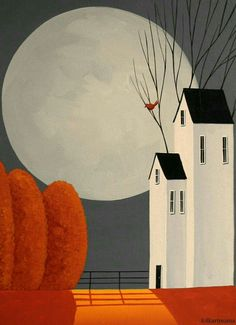 Illustration Moon Giant Moon and House – Folk Art Design Illustration Pinturas Raphael, Pintura Country, Primitive Folk Art, Naive Art, Whimsical Art, Painting Inspiration, Painting & Drawing, Painting Tips, House Painting