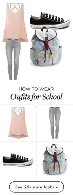 """School day!"" by missgraceabigail on Polyvore featuring Glamorous, Paige Denim, Converse, Aéropostale, women's clothing, women, female, woman, misses and juniors"