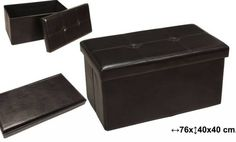 PUFF MARRÓN OSCURO POLIPIEL PLEGABLE CON CAJÓN  Medidas:76x40x40cm  Iva incluido  Más colores disponilbes, rojo, negro, blanco