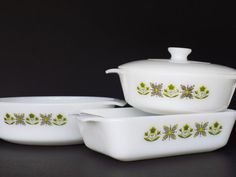 Fire King Baking Dishes  Set of 3  Meadow Green  Covered by Vetera