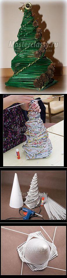 Спиральное плетение из газет к новому году. Ёлочки. Мастер-класс / Мастерклассы Блоги