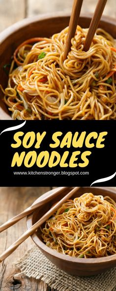 Soy Sauce Noodles - Smart Cooking You are in the right place about veggie Asian Noodle Recipes Here Asian Noodle Recipes, Asian Recipes, Healthy Recipes, Delicious Recipes, Soy Sauce Noodles, Noodle Sauce Recipe, Hibachi Noodles, Asian Noodles, Ramen Noodle