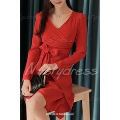 Graceful V-Neck Long Sleeve Solid Color Asymmetrical Bowknot Embellished Dress For Women