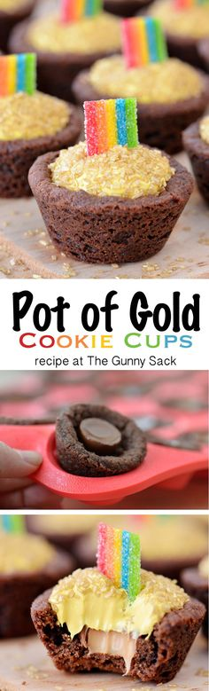 These Pot of Gold Cookie Cups have Rolos stuffed inside and a rainbow on top! These Pot of Gold Cookie Cups have Rolos stuffed inside and a rainbow on top! Try this recipe for St. Baking Recipes, Cookie Recipes, Dessert Recipes, Baking Ideas, Irish Recipes, Sweet Recipes, All You Need Is, St Patrick Day Treats, Cookie Cups
