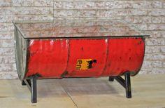 Rectangular Coffee Reclaimed Oil Drum Industrial Metal Table