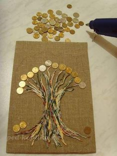 Money Trees Button Art Poster Wall Tree Art Panel Decoupage Projects To Try Home Decor Wall Art Coins Metal Tree Wall Art, Diy Wall Art, Home Decor Wall Art, Bicycle String Art, Coin Crafts, Glue Art, Coin Art, Seashell Art, Art N Craft