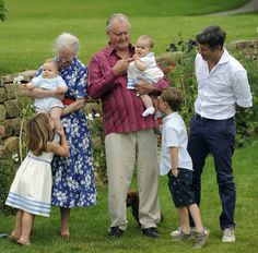Queen Margrethe II,  Prince Consort Henrik of Denmark, Crown Prince Frederik, Prince Christian and Princess Isabella and the twins Vincent Frederik Minik Alexander and Josephine Sophia Ivalo Mathilda during a fotocall at Grtasten Casle on August 1, 2011 in Grasten, Denmark.