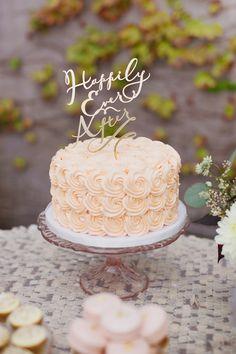 Happily Ever After Cake Topper: LittleCatDesignCo.com -- Wedding Cake: SweetandSaucyShop.com --  Photography: MariaLonghi.com -- See More: http://www.StyleMePretty.com/california-weddings/2014/05/01/majestic-fairytale-wedding-inspiration/
