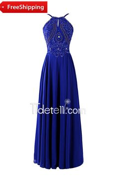 Gorgeous A-line Halter Straps Chiffon Long Evening Dress With Beading