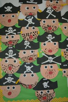 A Pirate's Life For Me! Our pirate unit had us shivering with delight! Our literacy center featured, How I Became A Pirate . Pirate Preschool, Pirate Activities, Pirate Crafts, Art Activities, Preschool Crafts, Deco Pirate, Pirate Day, Pirate Birthday, Pirate Theme
