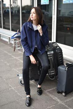 navy jacket / striped tee / black skinnies / airport style