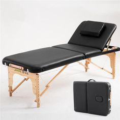 70cm Wide 3 Fold Portable Massage Table Hardwood Frame Adjustable Spa Bed Tattoo