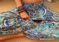 bracelets fashion tan summer thin hipster boho indie blue pattern bohemian clothing pants tanned gypsy bohemia Roma pant summer blog hipster...