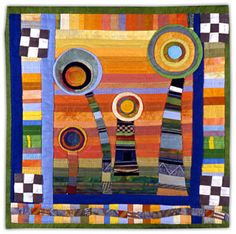 Joyce Seagram: Art Quilts - Gallery 1.  Another possibility for appliquéing the plaid top