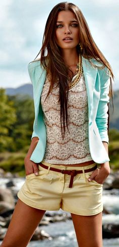 spring outfit - pastels for blazer and shorts - white laced shirt