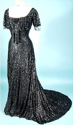 Later Stage Mourning Evening Gown, Desbuisson and Hudelist, Paris: ca. 1909, French, net covered in matte sequins, front tassel of unpolished jet.
