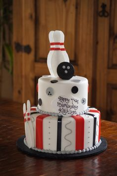 Tiered bowling themed birthday cake