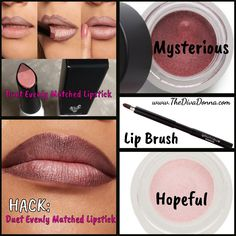 Younique Duet Lipstick Evenly Matched hack: Mysterious Splurge as lip liner Hopeful Splurge in the middle applied with the Younique Lip Brush. - May 25 2019 at Beauty Hacks Eyelashes, Beauty Hacks Lips, Younique Splurge, Morning Beauty Routine, Lipstick For Fair Skin, Lipstick Colors, Neon Lipstick, Lipstick Shades, Lipsticks