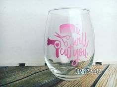 A great little something to give to your hairdresser to show your appreciation for his or her hard work! This listing is for one 21oz wine glass with the words I will cut you in soft pink permanent vinyl with a comb, scissors, and a hairdryer.  Please note any color changes in Notes to Seller.  For orders of 8+, please message me for a bulk order discount.  CARE INSTRUCTIONS: while this high-quality, gloss vinyl used has up to a 6-year durability life and the adhesive is permanent, I…