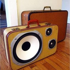 Upscycled luggage speakers.  Great way to reuse luggage that's too beautiful to throw away!