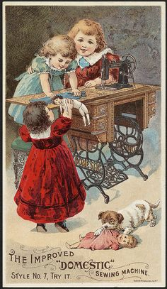 Vintage: the Improved Domestic Sewing Machine. Vintage Rose Album: Maszyna do szycia Vintage Ephemera, Vintage Cards, Vintage Postcards, Decoupage, Etiquette Vintage, Couture Vintage, Images Vintage, Sewing Cards, Sewing Box