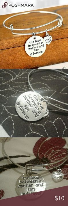 """Mother Son Forever Silver Bangle Bracelet Engraved in black """"the love between a mother and son is forever"""" on a silver round dangling base with a Black enraged dangling heart """" thank you"""" on a silver plated bangle bracelet!  BUNDLE 2 plus item get 20% off!! Jewelry Bracelets"""